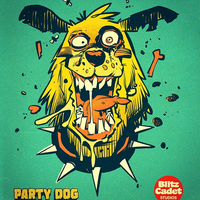 💥Don't miss yer chance to grab one of these Limited Edition PARTY DOG shirts! (Link in my profile) nice big soft discharge print on a comfy light weight cotton Tee! Available in 4 colors! And only for a super-crazy limited time! 😜🍻🤪🍻🍗🐶 do it up! #partydog#blitzcadet#beerstoyouoldamigo #comics#tshirt#supporttheunderground#trashcomics#junkyarddog