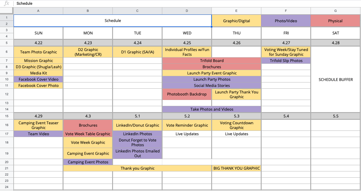 Schedule is organized by types of publishing platform. It shows rigorous planning for deliberate content strategy.