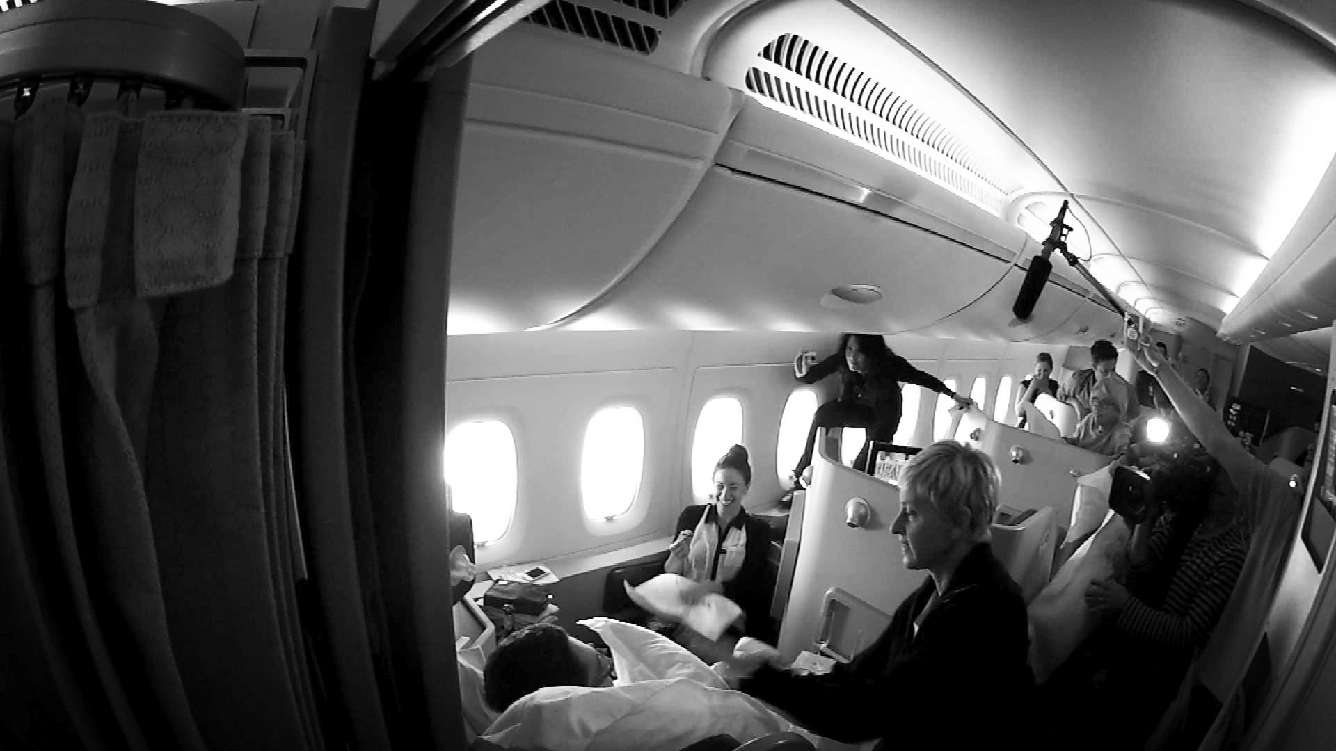 Directing a final tape piece on the flight back from my 2 live shows with Ellen in Australia.