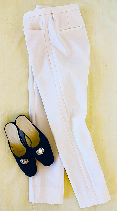 White Cotton Stretch Pants w/ Sweet Mule