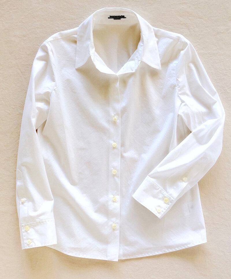 Pima Cotton White Shirt w/ Hand Stitched Finish