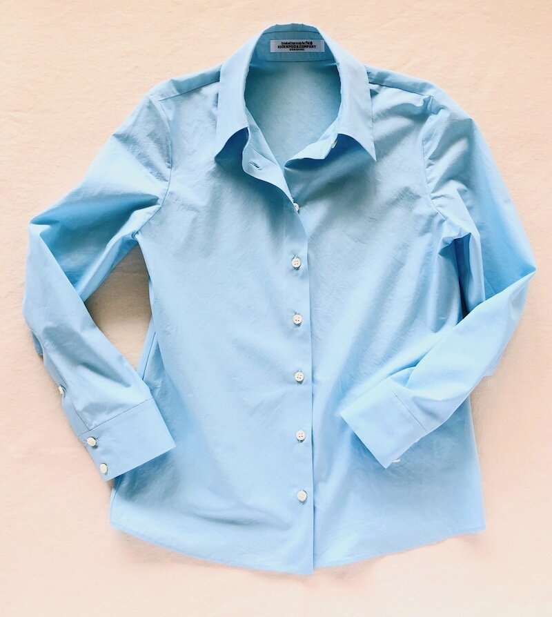 Especially cotton Shirt w/ Hand Stitched Finish. Fabric by Lyria Italy.