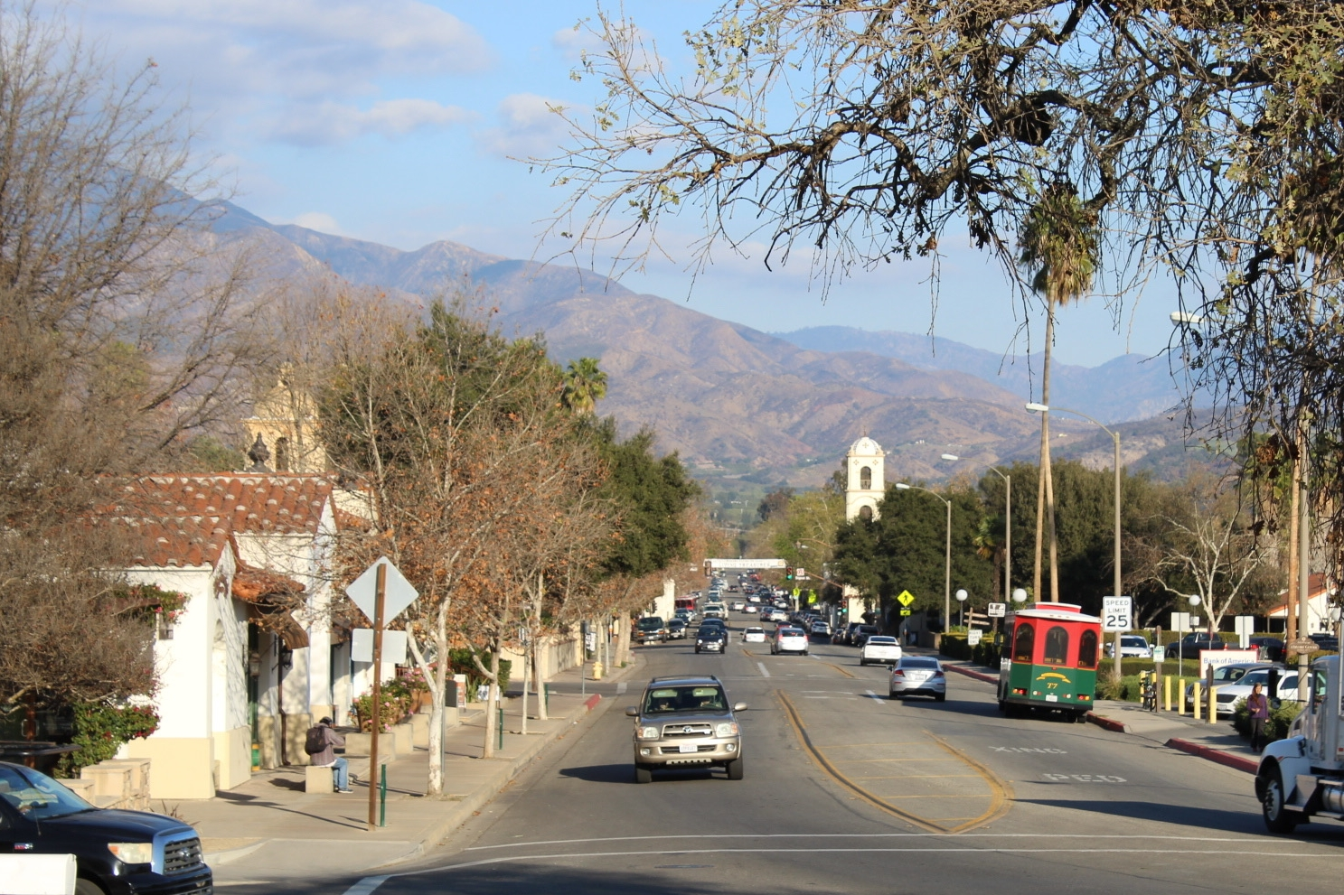 The Ojai Trolley drives along our main street Ojai Avenue