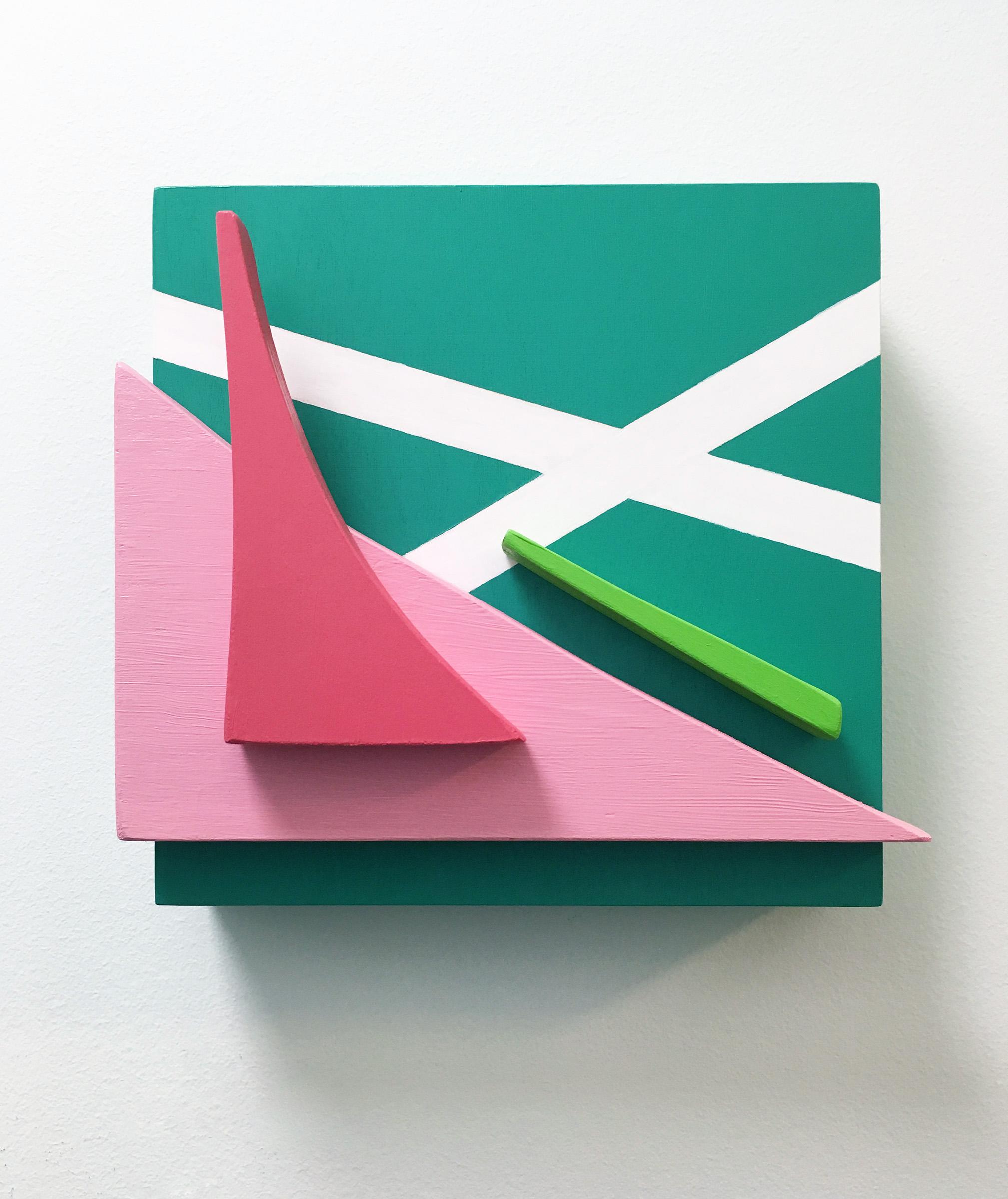 """Summer Stroll , Acrylic paint on wood, 8.5"""" x 8"""" x 3.5,"""" 2016."""