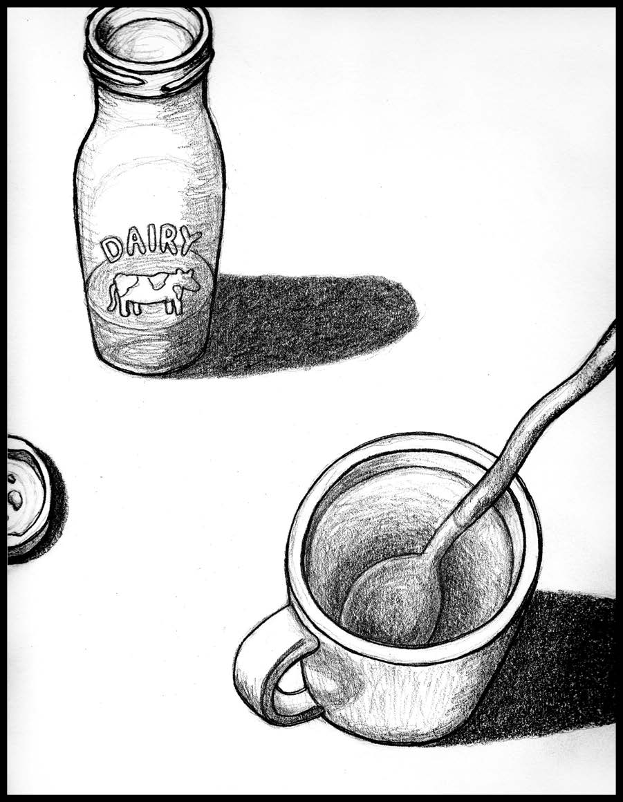 """Still Life: Aerial View of Tea Time , Graphite on paper, 8"""" x 10,"""" 2016."""