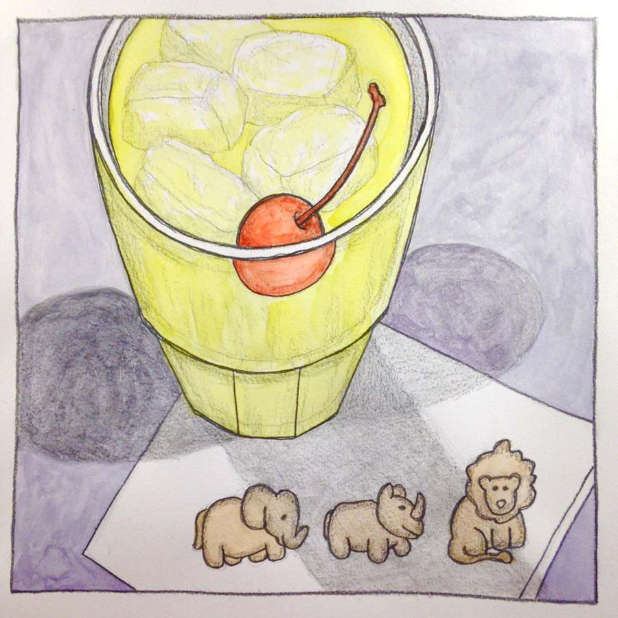 """Cocktail for Three , Graphite and watercolor on paper 8"""" x 8,"""" 2016."""
