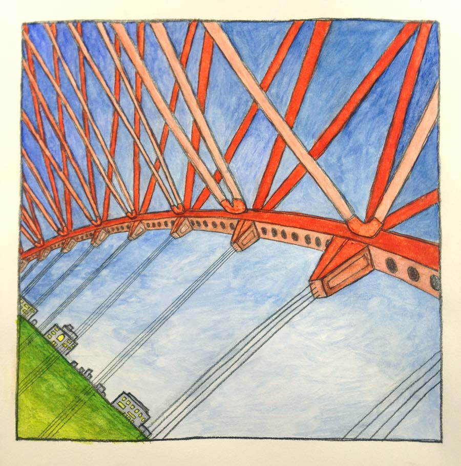 """Bridge , Graphite and watercolor on paper 8"""" x 8,"""" 2016."""