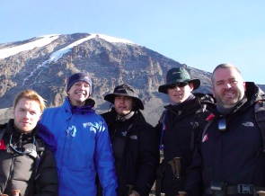Ronan Keating & Chris Moyles with Greg on their Mount Kilimanjaro climb in 2009. Picture credit: gregwhyte.com
