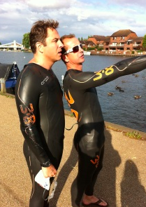 Comedian David Walliams was coached by Greg for his open water swimming challenges. Picture credit: gregwhyte.com