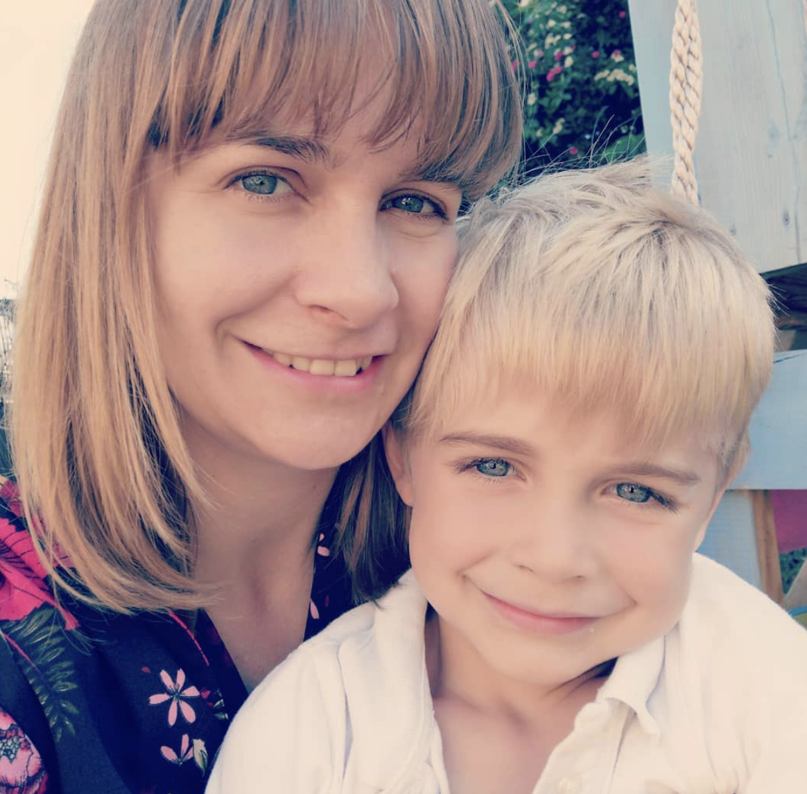 Allergy author, blogger and journalist, Emma Amoscato, with her son James, who has multiple allergies. Picture: Instagram @freefromfarm