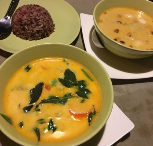 Veggie red curry and veggie massaman curry at Pink House
