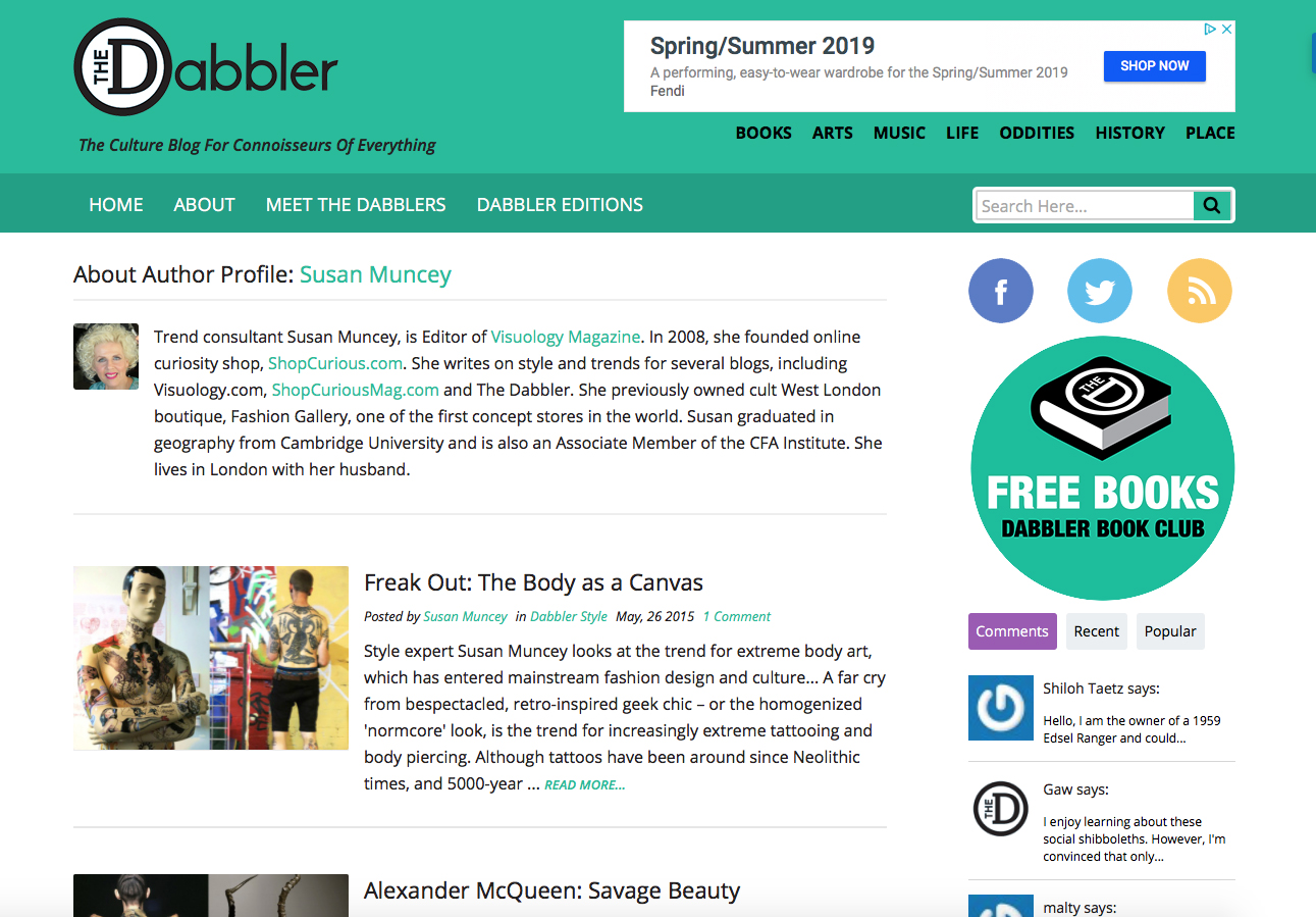 the dabbler - Style Columnist for multi-contributor culture blog, www.thedabbler.co.uk, writing posts for the RetroProgressive and Life of Style columns