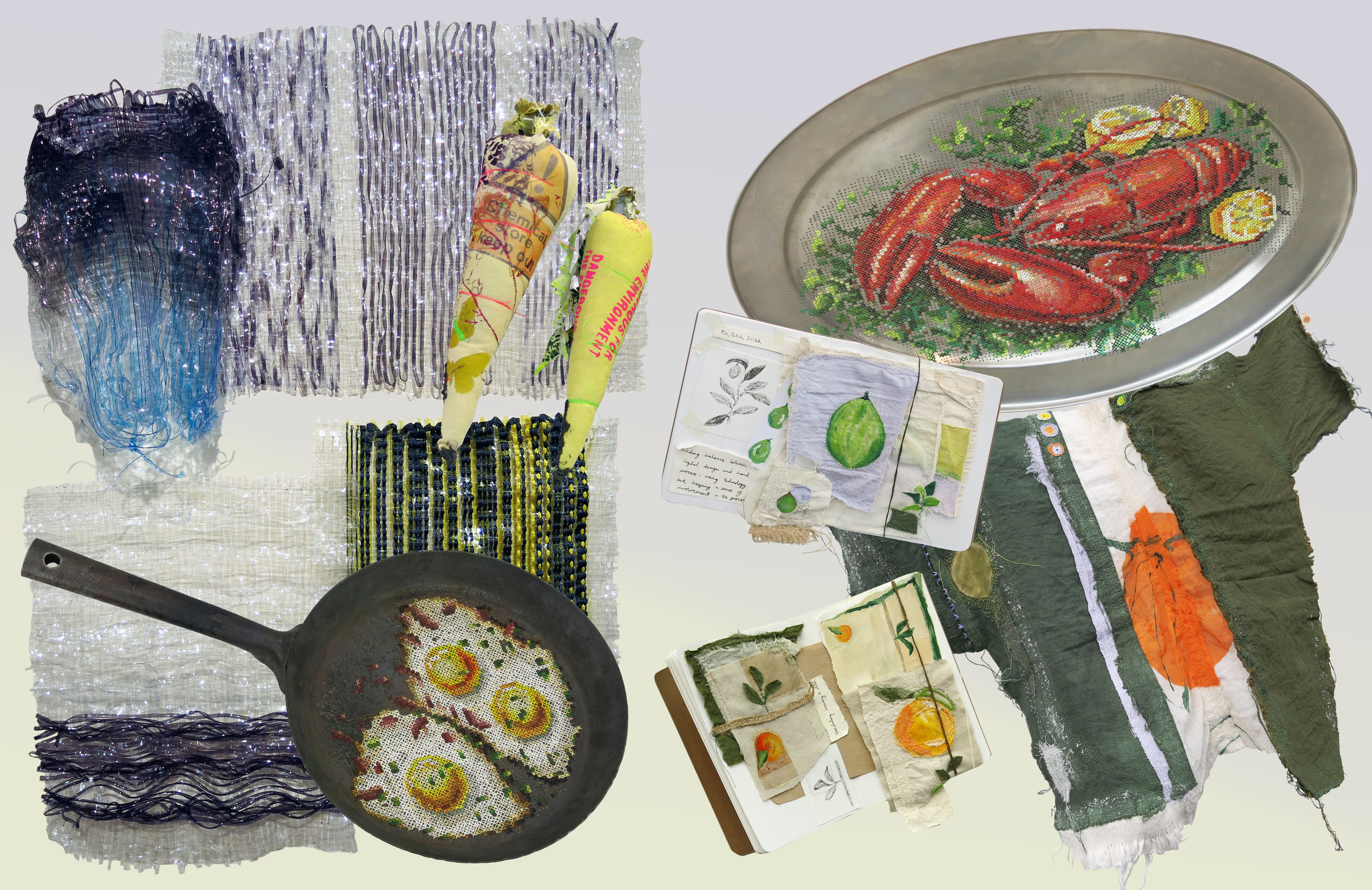 sustainable textiles - Recycled plastic waste textiles, food derived fabric dyes and food themed tapestries