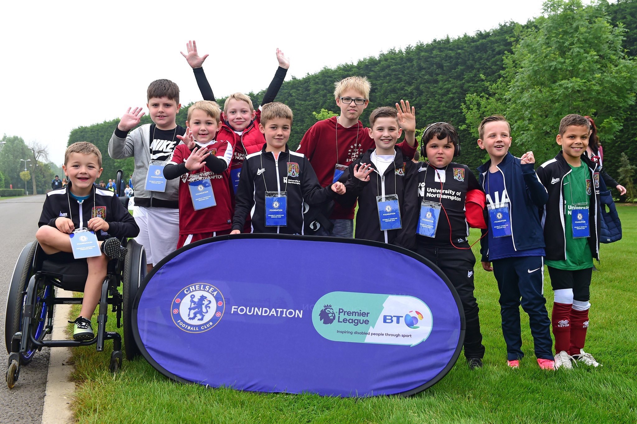 Our under 11's disability team taking part at a tournament at Chelsea's training ground in 2018