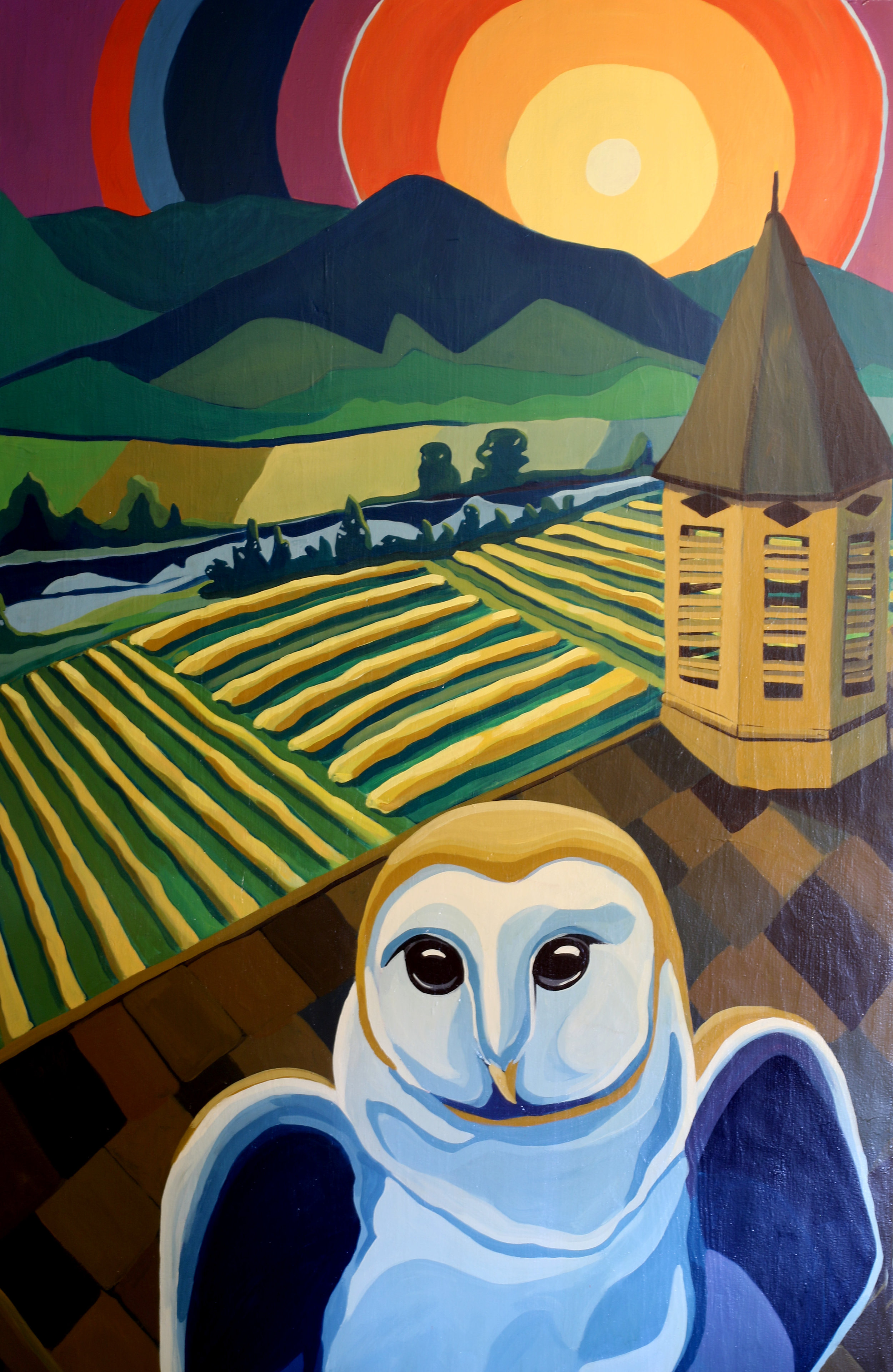 """Barn owl at Wingville"" 2018 8'x4' mural downtown Baker City, OR."