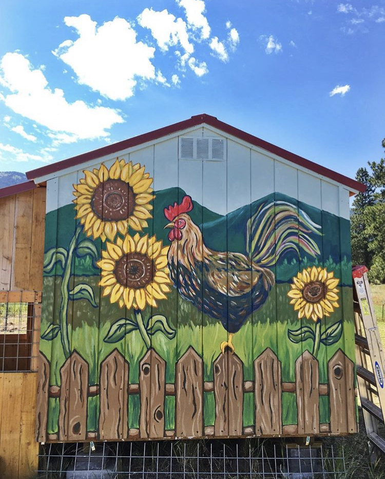 Mural on the side of a chicken coop 2018, Baker City, OR