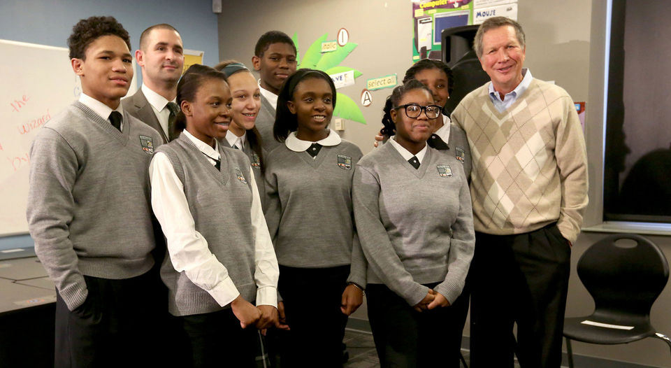 Ohio Governor John Kasich visits with students at Breakthrough Schools