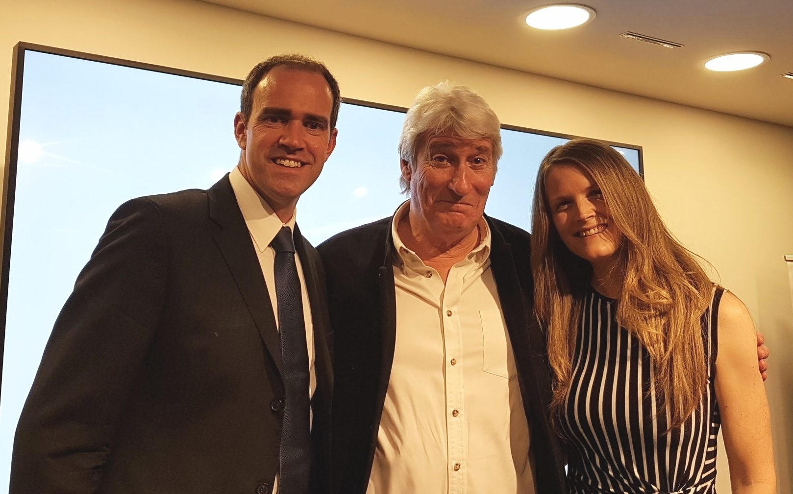 James and Kate with broadcaster, journalist and author Jeremy Paxman, following the expert panel debate.