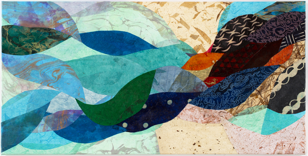 """Ocean Flow, 36""""x18"""", paint and paper on canvas"""
