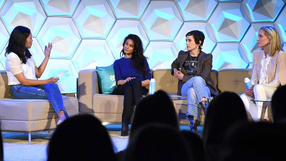 Melissa Magsaysay, Emmanuelle Chriqui, Kristina Buckley and Karla Welch speak at the summit