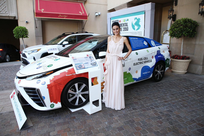 EMA Board Member Emmanuelle Chriqui with the zero-emissions Toyota Mirai at the 2019 EMA Awards