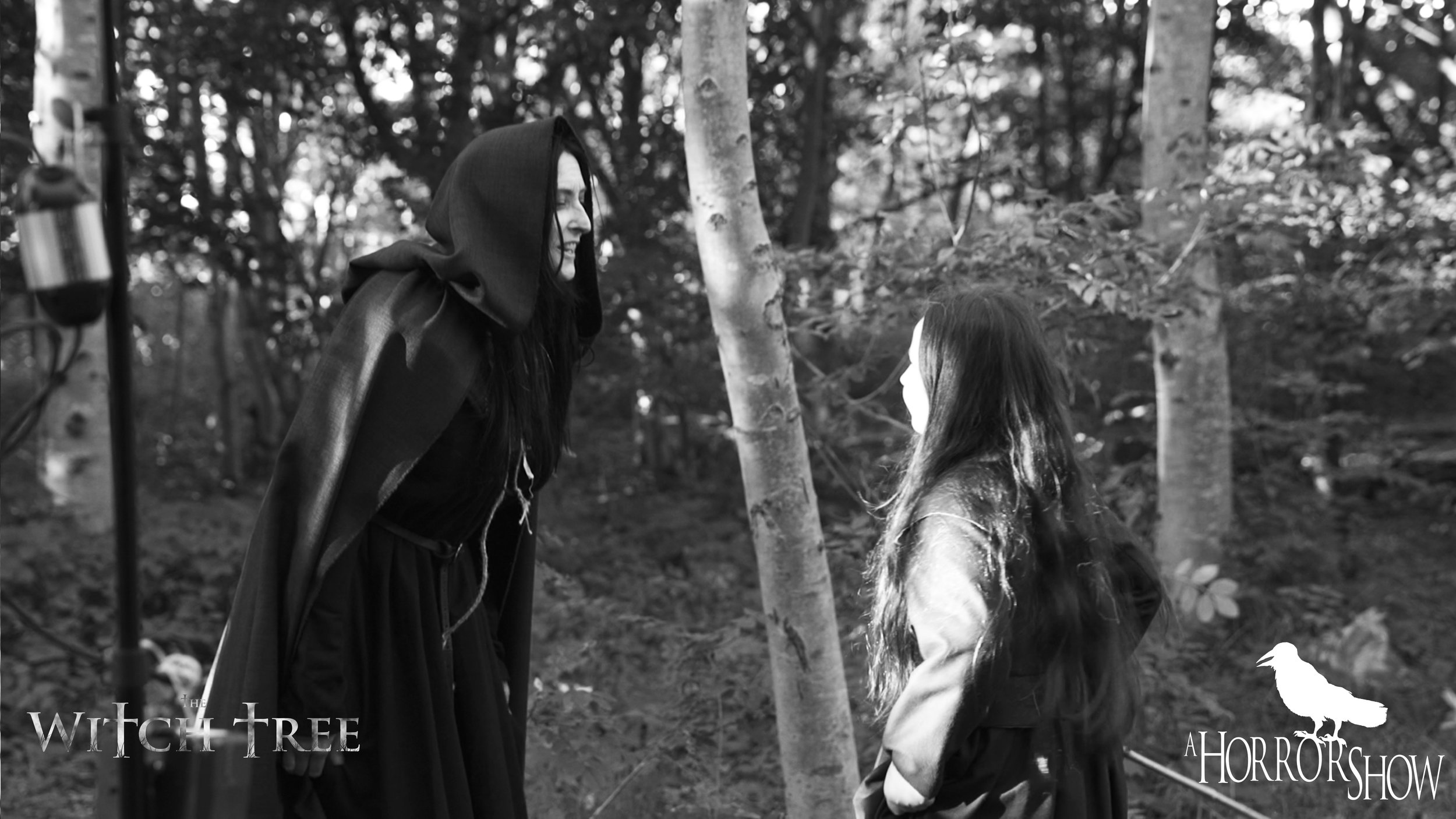 Ceejay and Scarlet Sargent on the set of The Witch Tree.