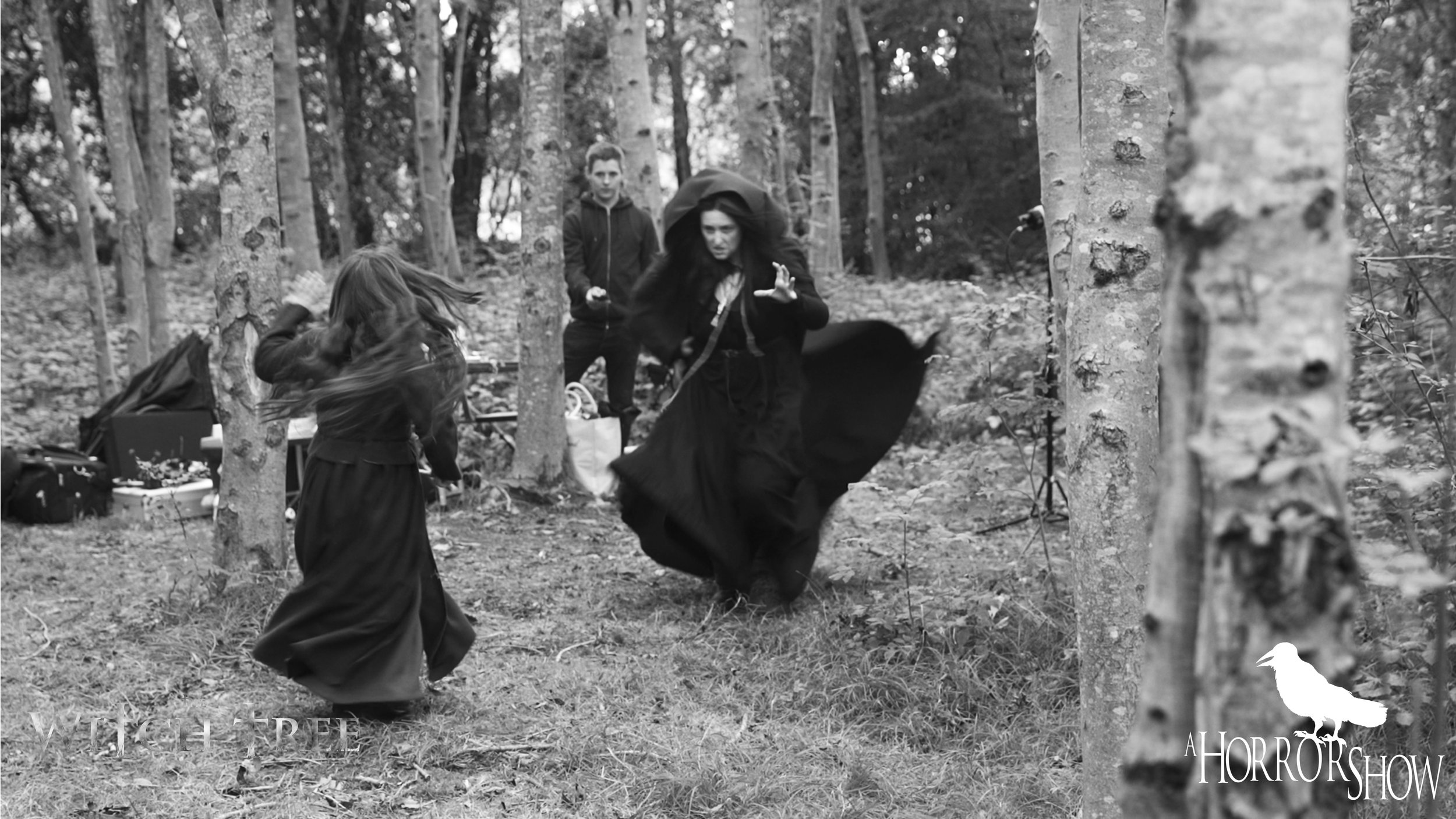 Behind the scenes on the set of The Witch Tree short horror film.