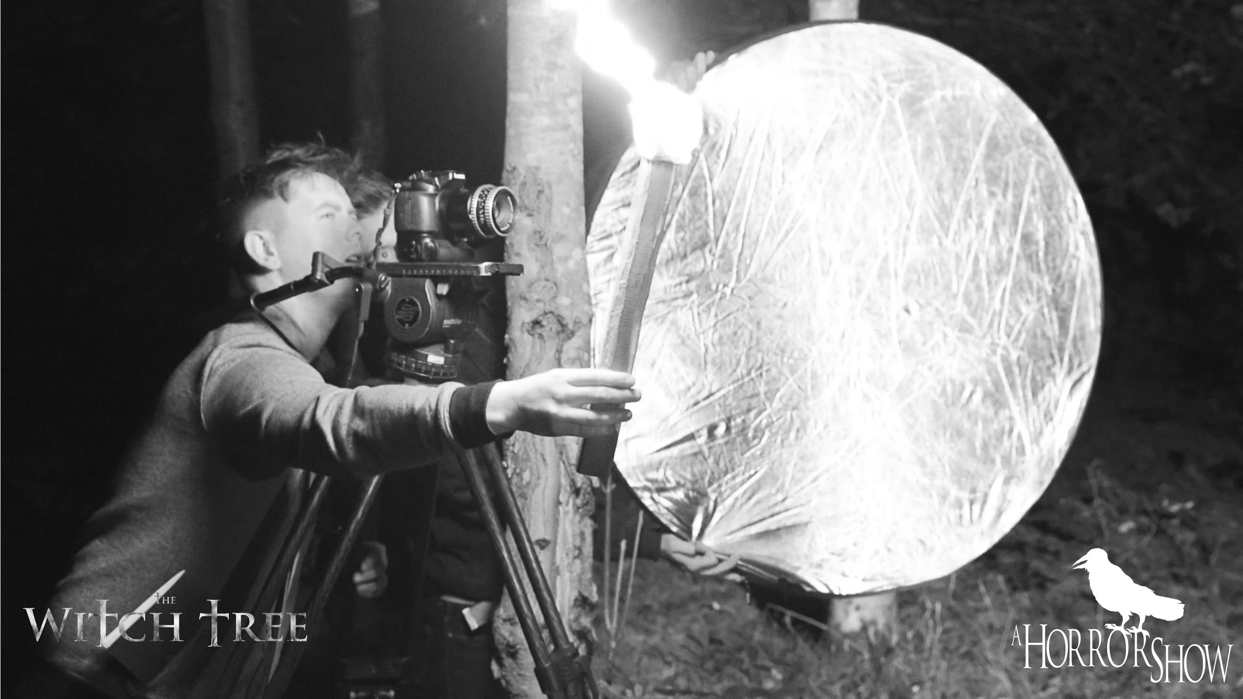 Director Lee Patrick Robinson on the set of The Witch Tree.