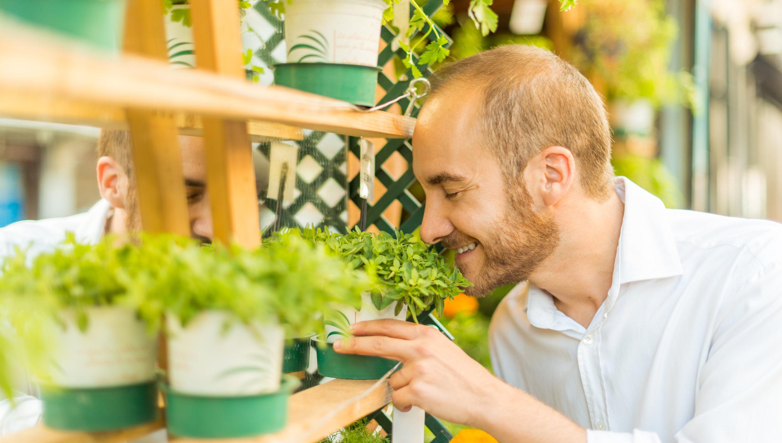 Man Smelling plant Smile.jpg