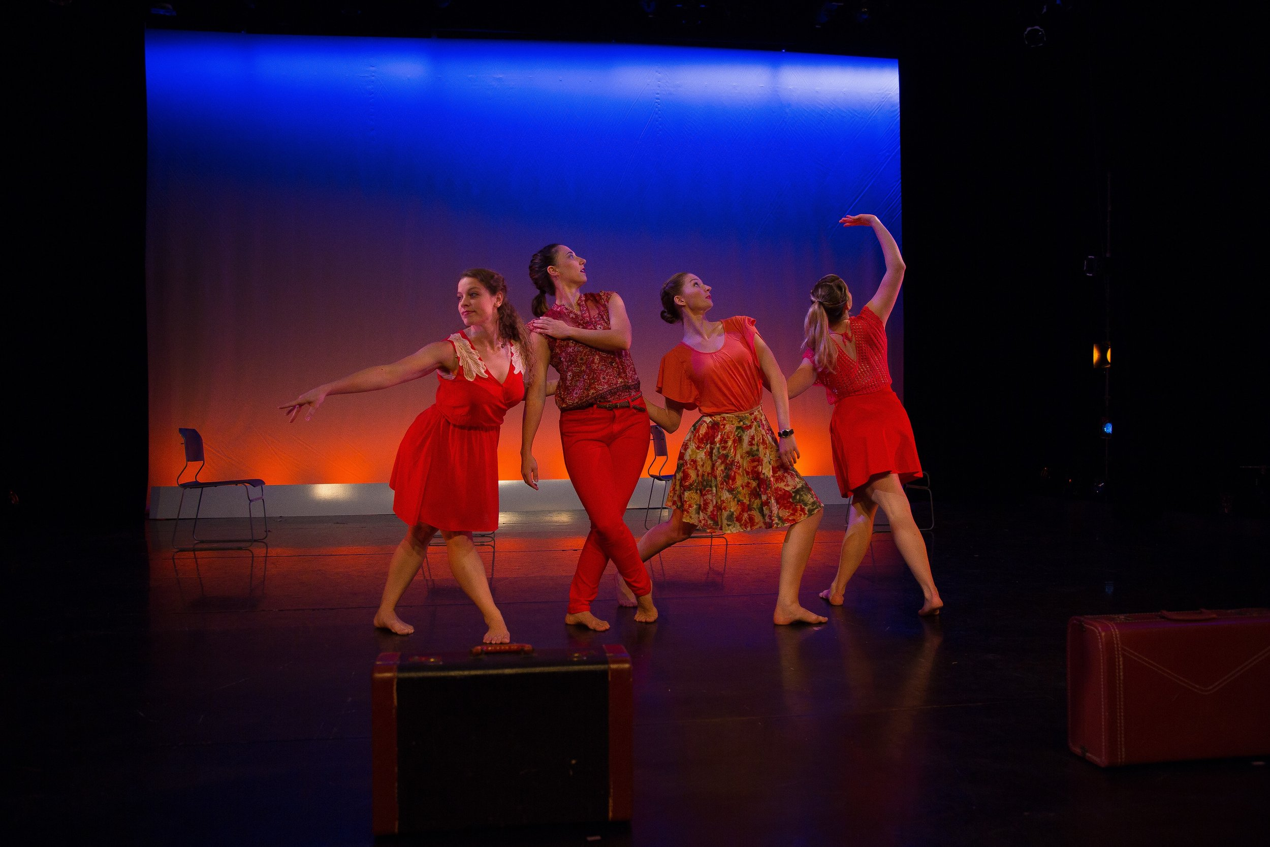 Blue Mountain Express, 2016. Dancers: Brenna Dames, Eleni Grove, Olivia Landrum, Matina Phillips. Photo: David Dowling.