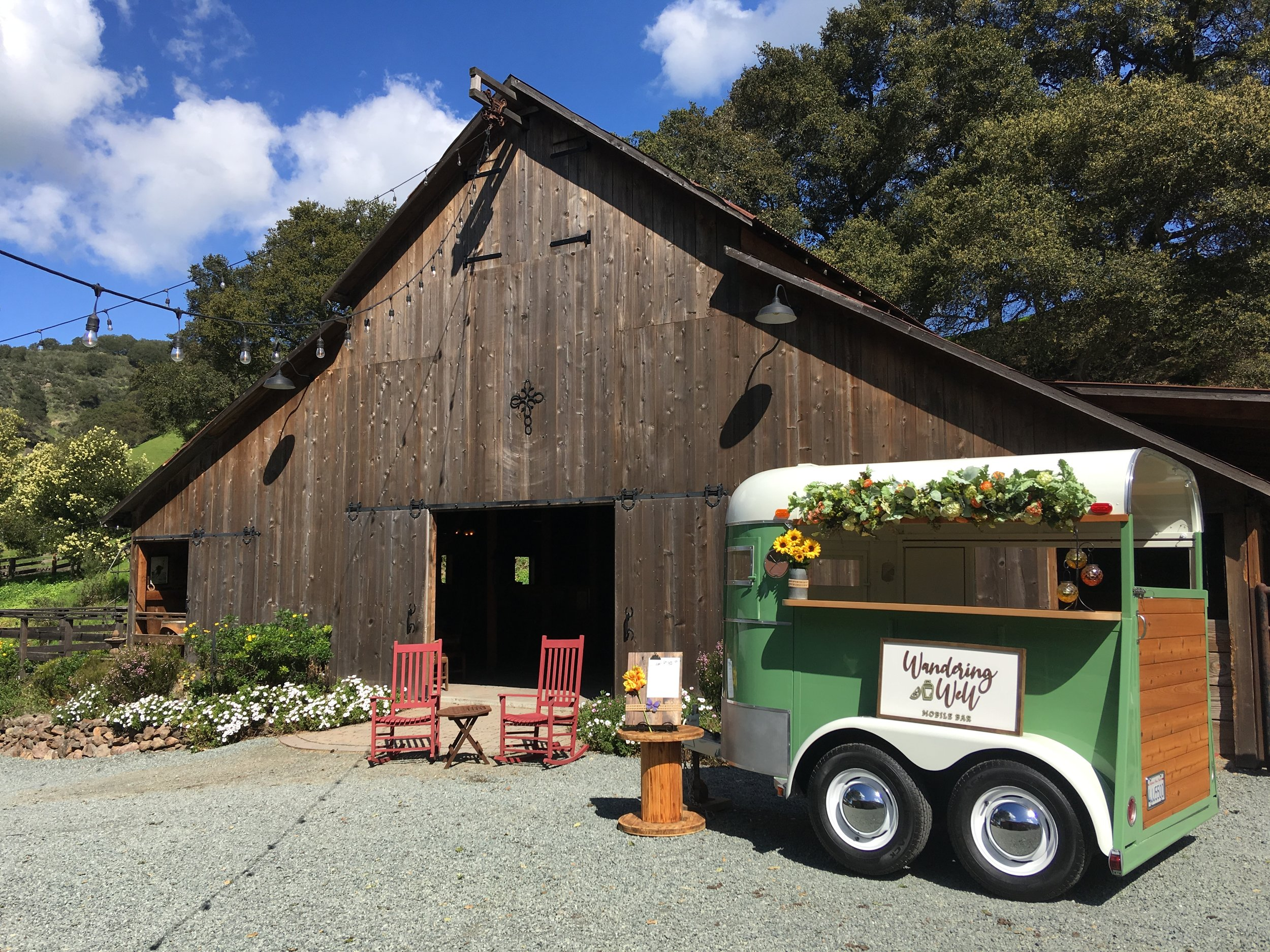 Meet Welma: - She's our vintage horse trailer bar who resides in Pleasanton, CA but happily travels to private events throughout the Bay Area. She feels right at home visiting the stunning JBL Home Ranch in Briones, CA.