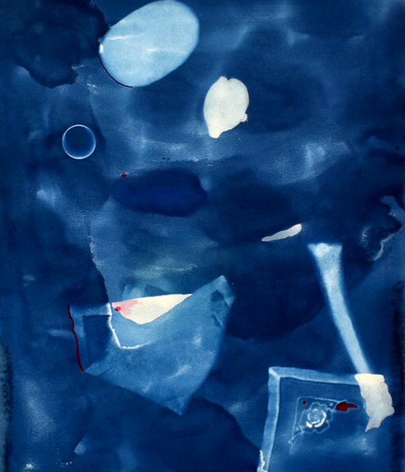 two rocks bone tablecloth cyan , 2016, cyanotype, gouache and acrylic on paper, 18 x 24 inches