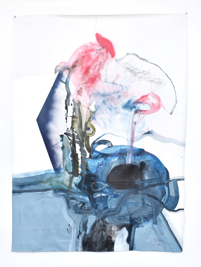 blue smoke roof , 2016, spray paint, acrylic, ink, graphite on canvas, 46 x 62.5 inches