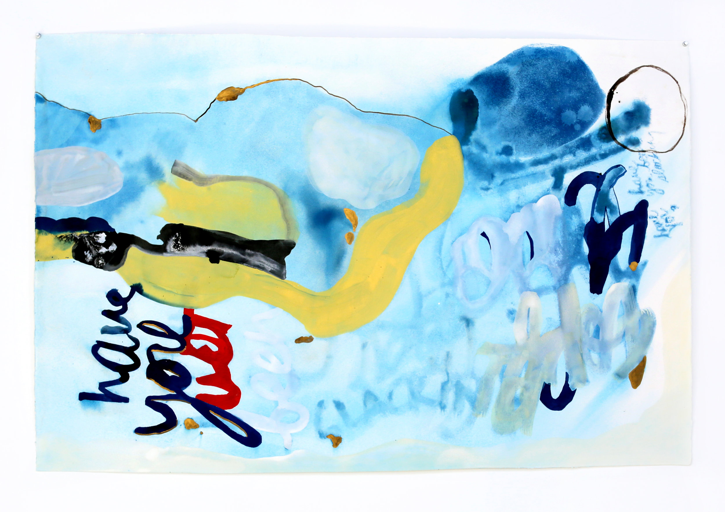 have you been slacking , 2016, cyanotype, gouache, acrylic, and ink on paper, 25 x 51 inches