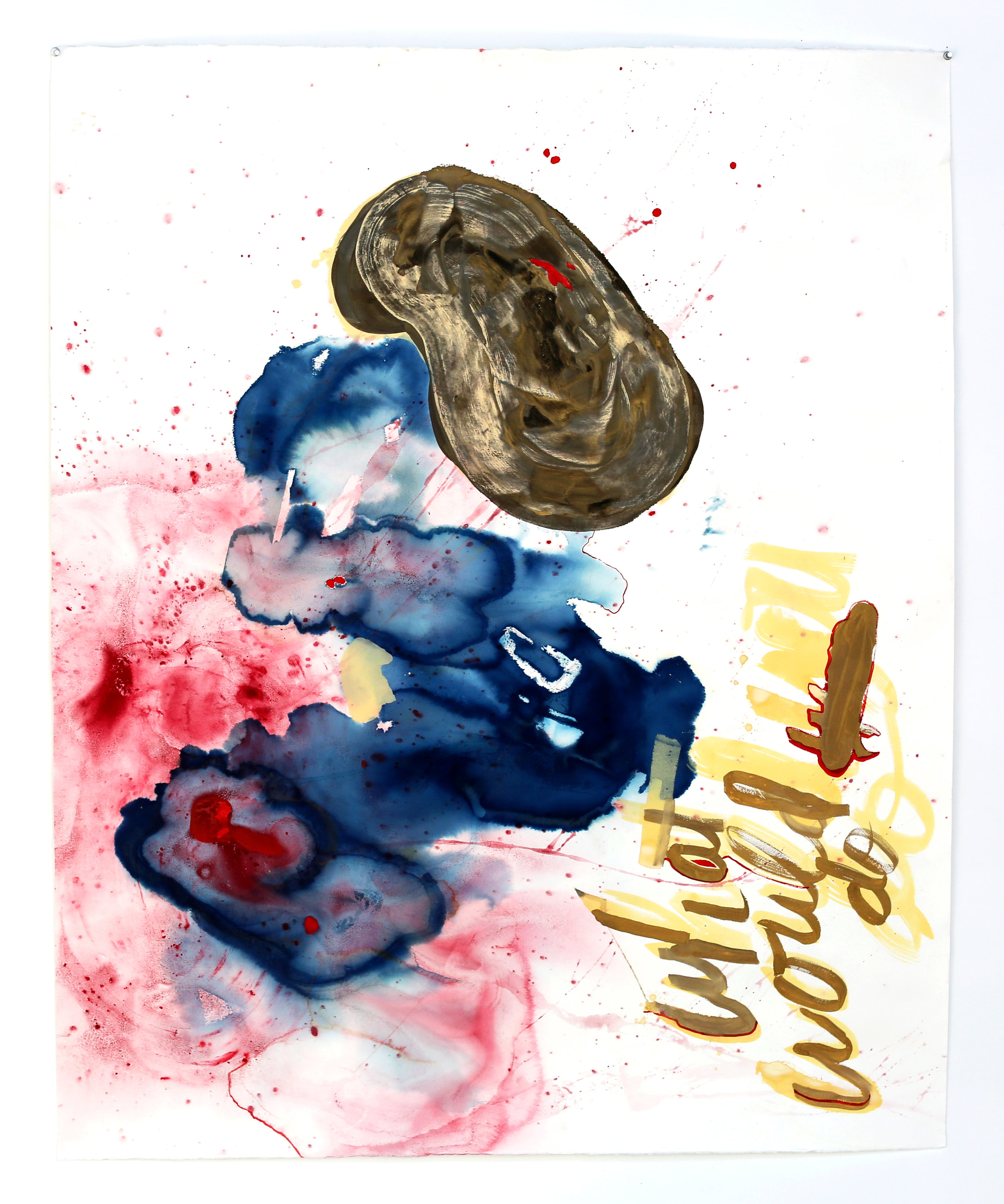 what would you do , 2016, cyanotype, acrylic and gouache on paper, 41.5 x 51 inches