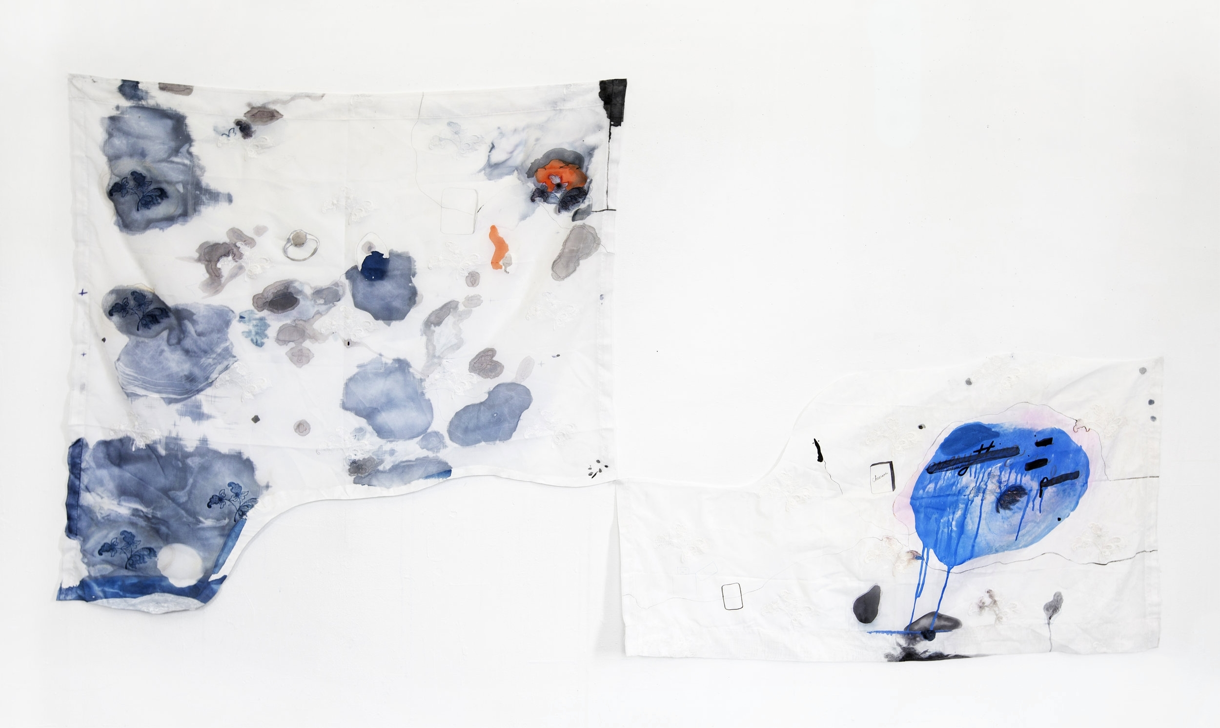 everything in its place , 2016, cyanotype, charcoal, gesso, and ink on found fabric, dimensions variable
