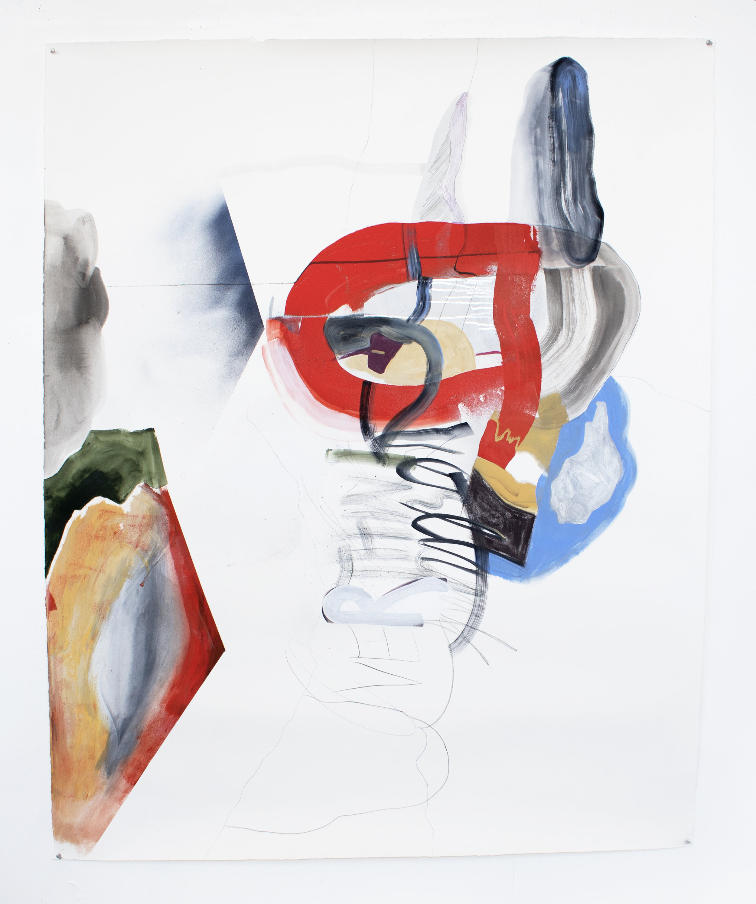 combover , 2017, acrylic, ink, spray paint, and graphite on paper, 51 x 63.5 inches