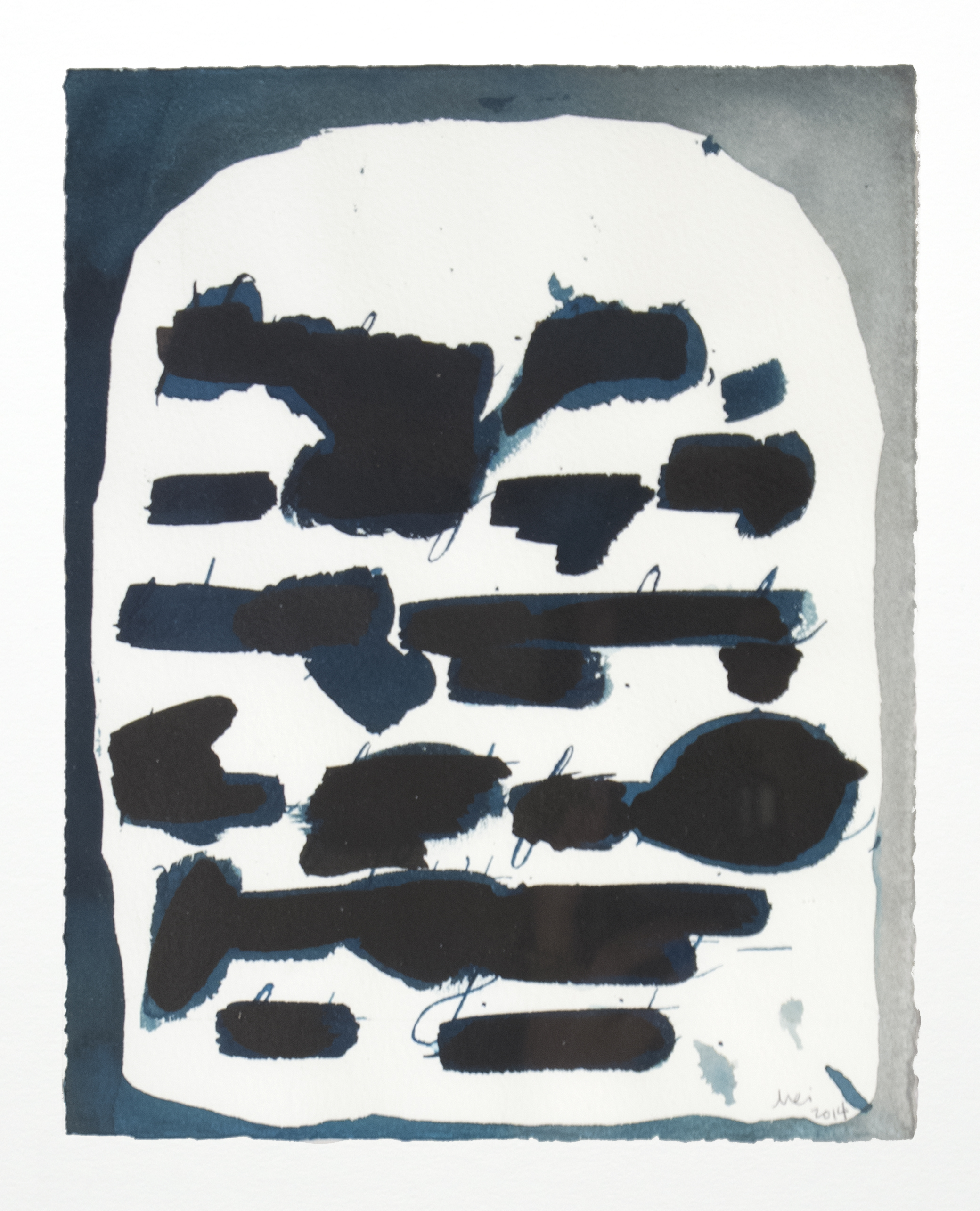 deep blue letter , 2014, ink on paper, 7 X 9 inches