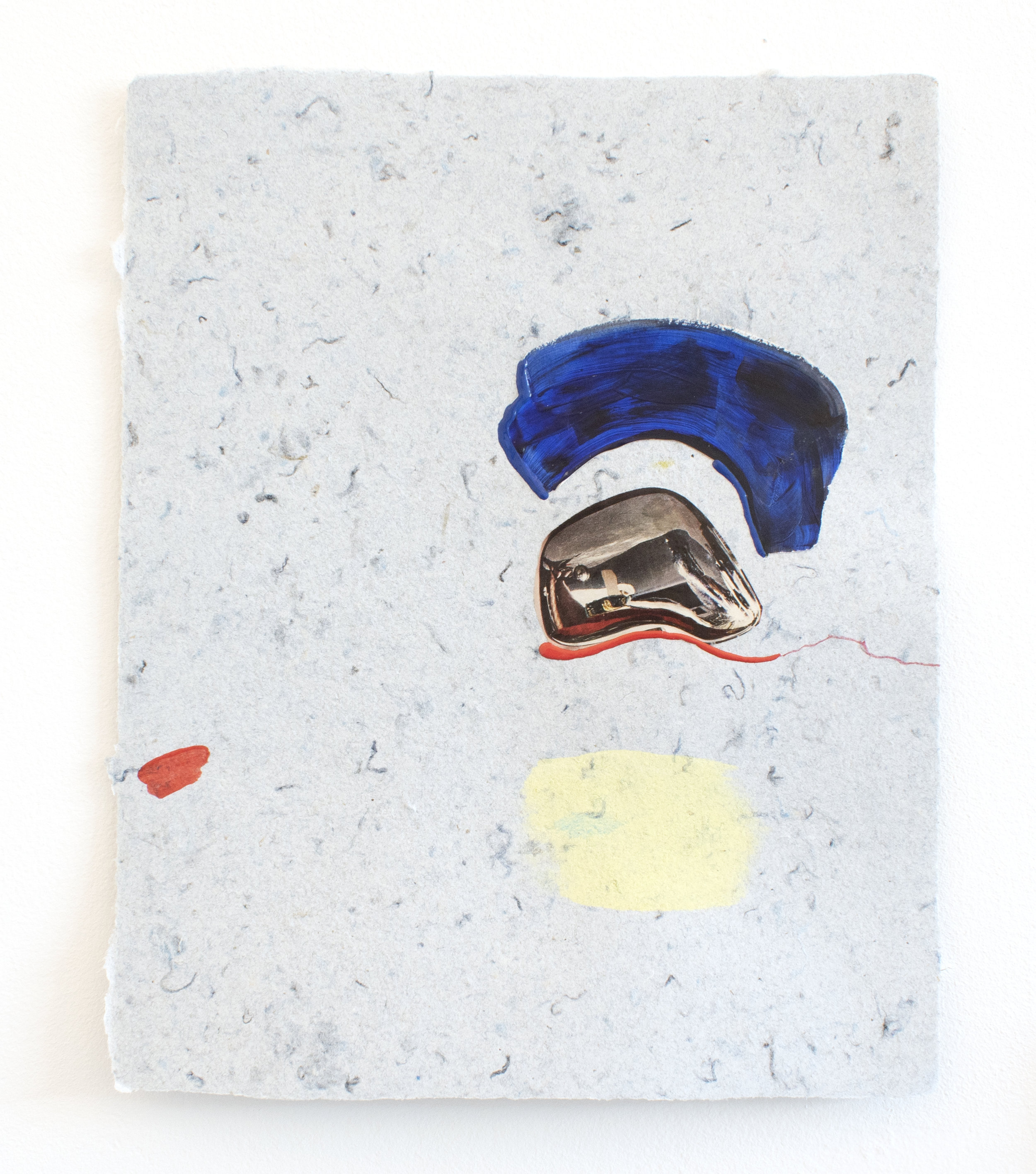 blue chrome , 2018, collage and puff paint on handmade paper made out of denim insulation, 9 x 12 inches