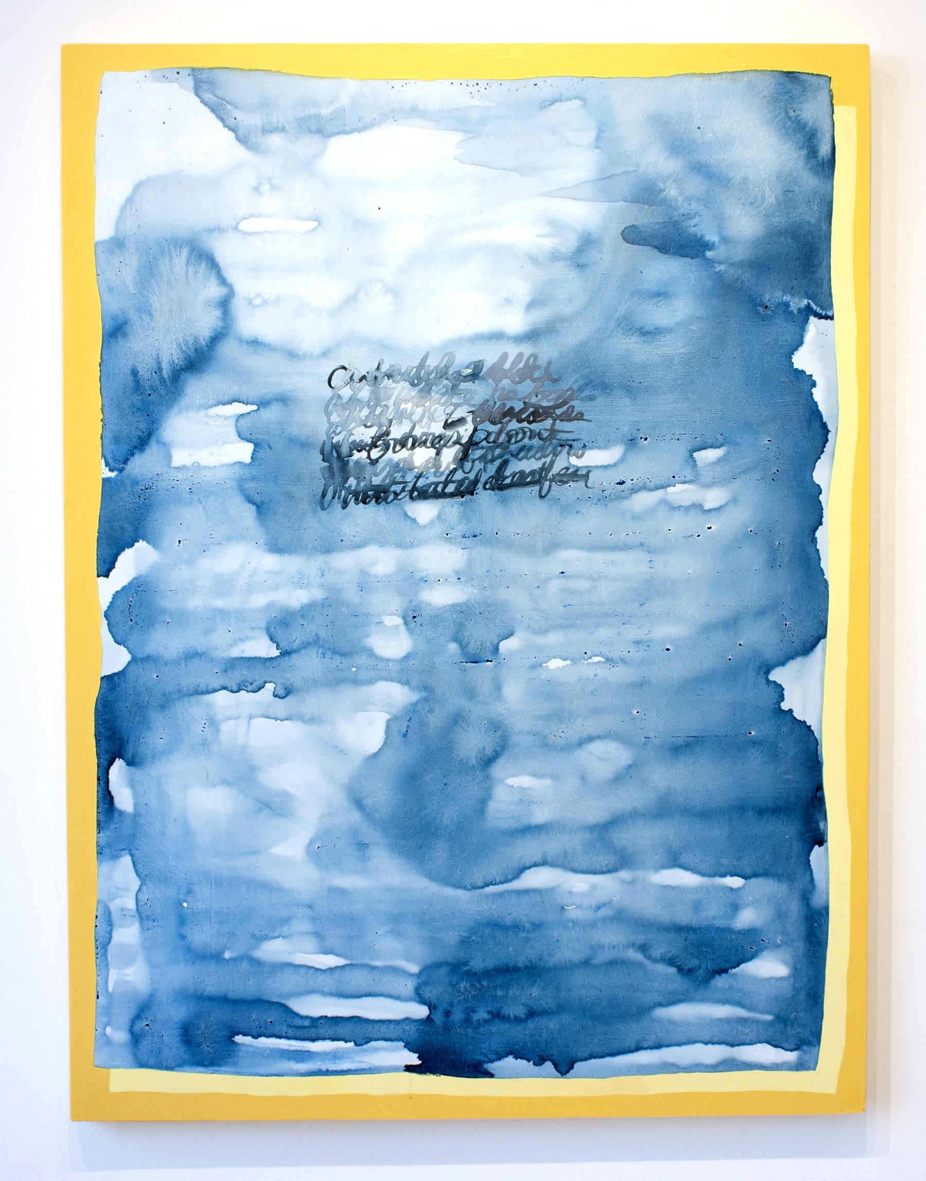 cutn'dry , 2018, ink, acrylic, gouache, and house paint on board, 3 x 4 feet