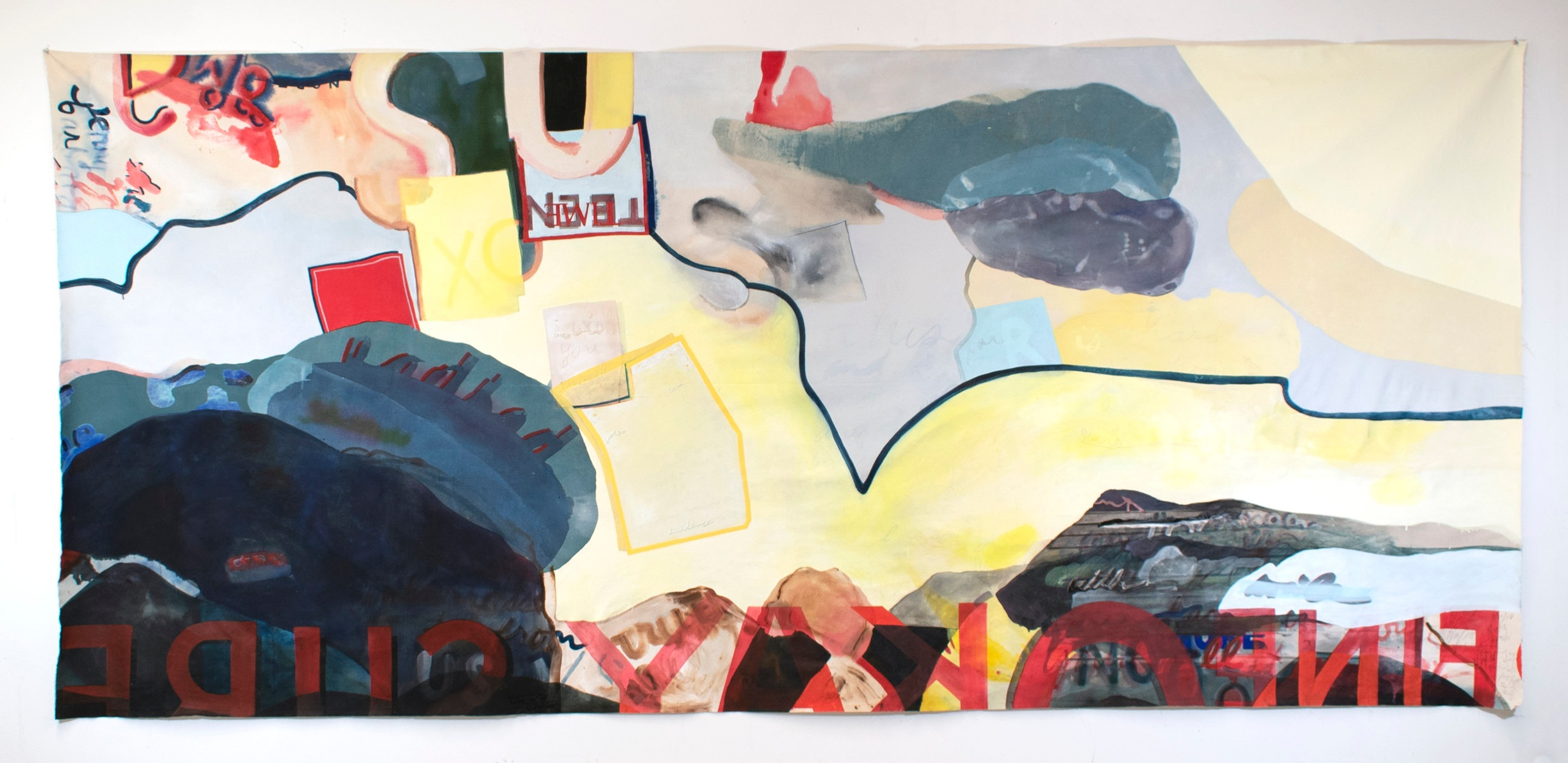 winding canyon , 2019, acrylic, oil, ink, glue, and puff paint on unstretched canvas, 59 x 131 inches