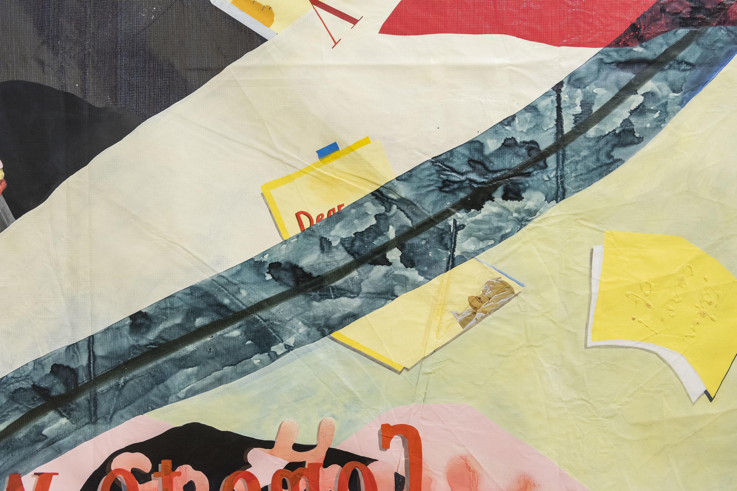 detail of  LA girlbrain , 2019, enamel, acrylic, ink, oil, glue, pencil, and paper on repurposed billboard