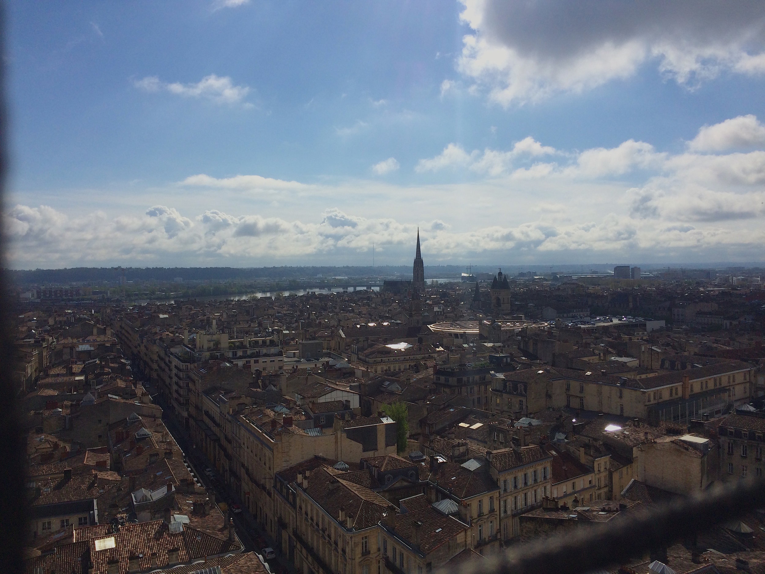 We could see to the river dividing the city, the largest church in Bordeaux, and beyond!