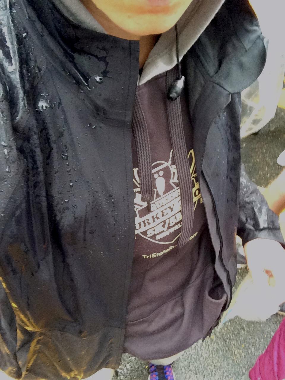 Throwaway sweatshirt hiding under my rain jacket.