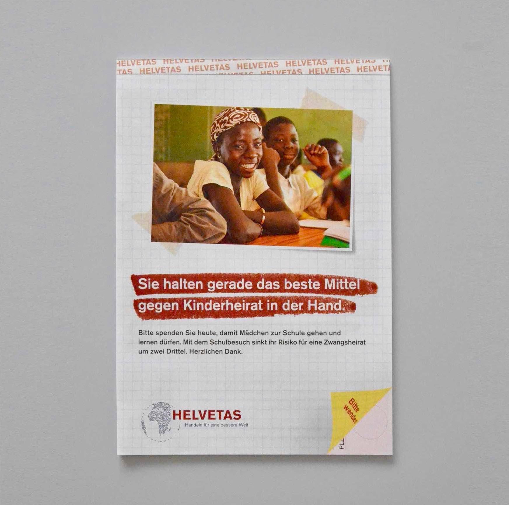 Titelseite Helvetas-Streuwurf zum Thema Zwangsheirat und Mädchenbildung