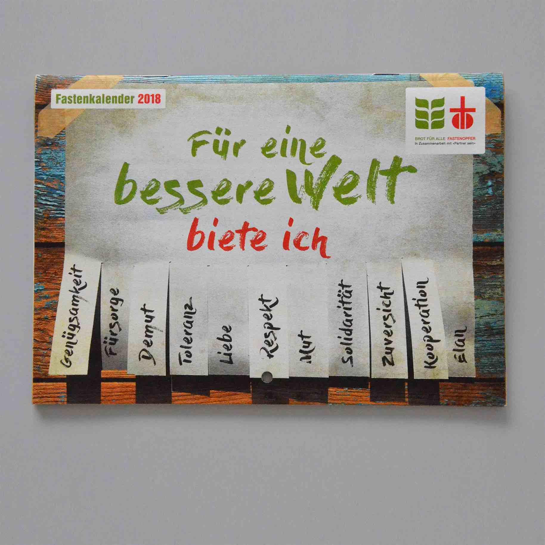 Titelseite des Fastenkalenders 2018 der ökumenischen Kampagne von Brot für alle und Fastenopfer