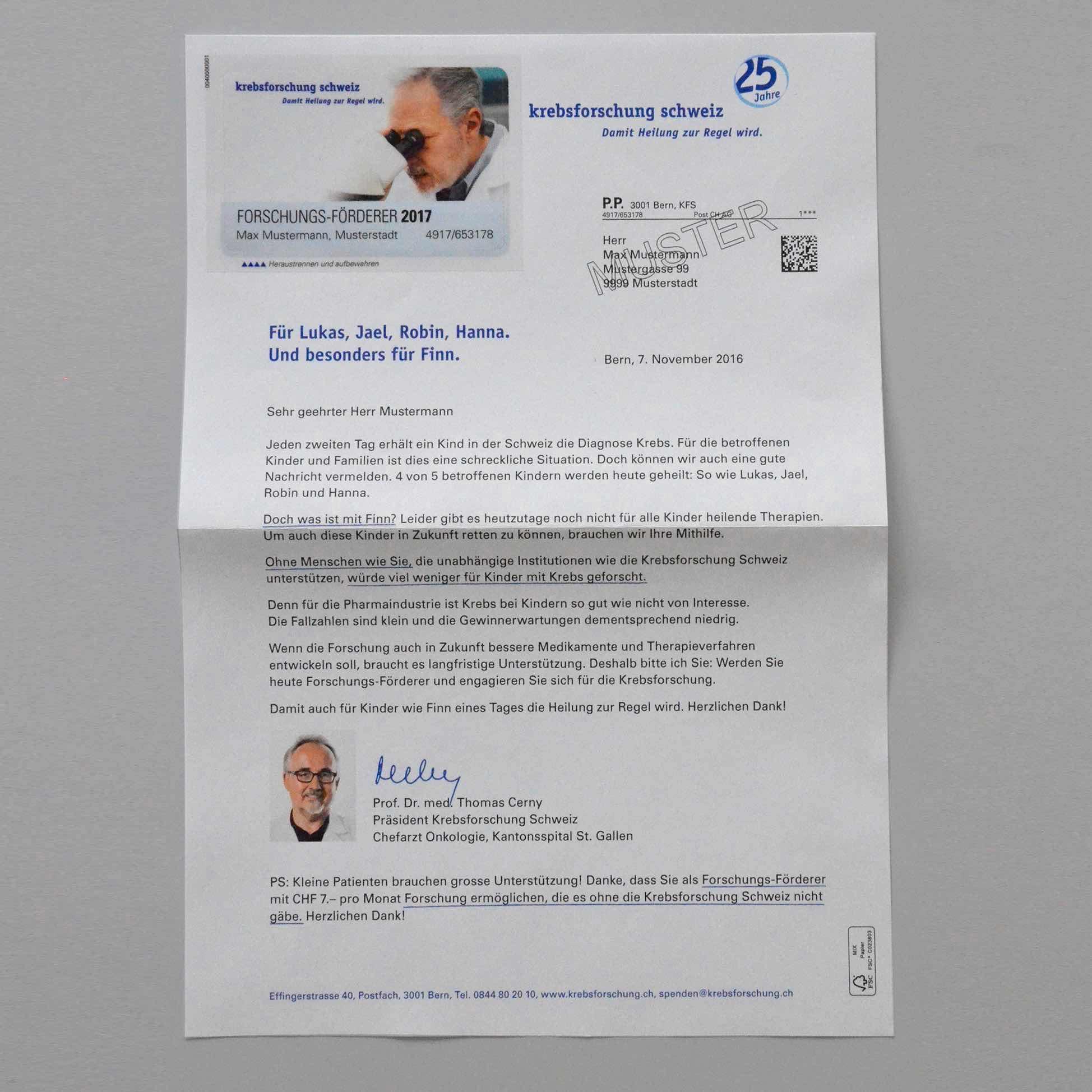 Copy of Krebsforschung Schweiz: Brief Spendermailing November 2017