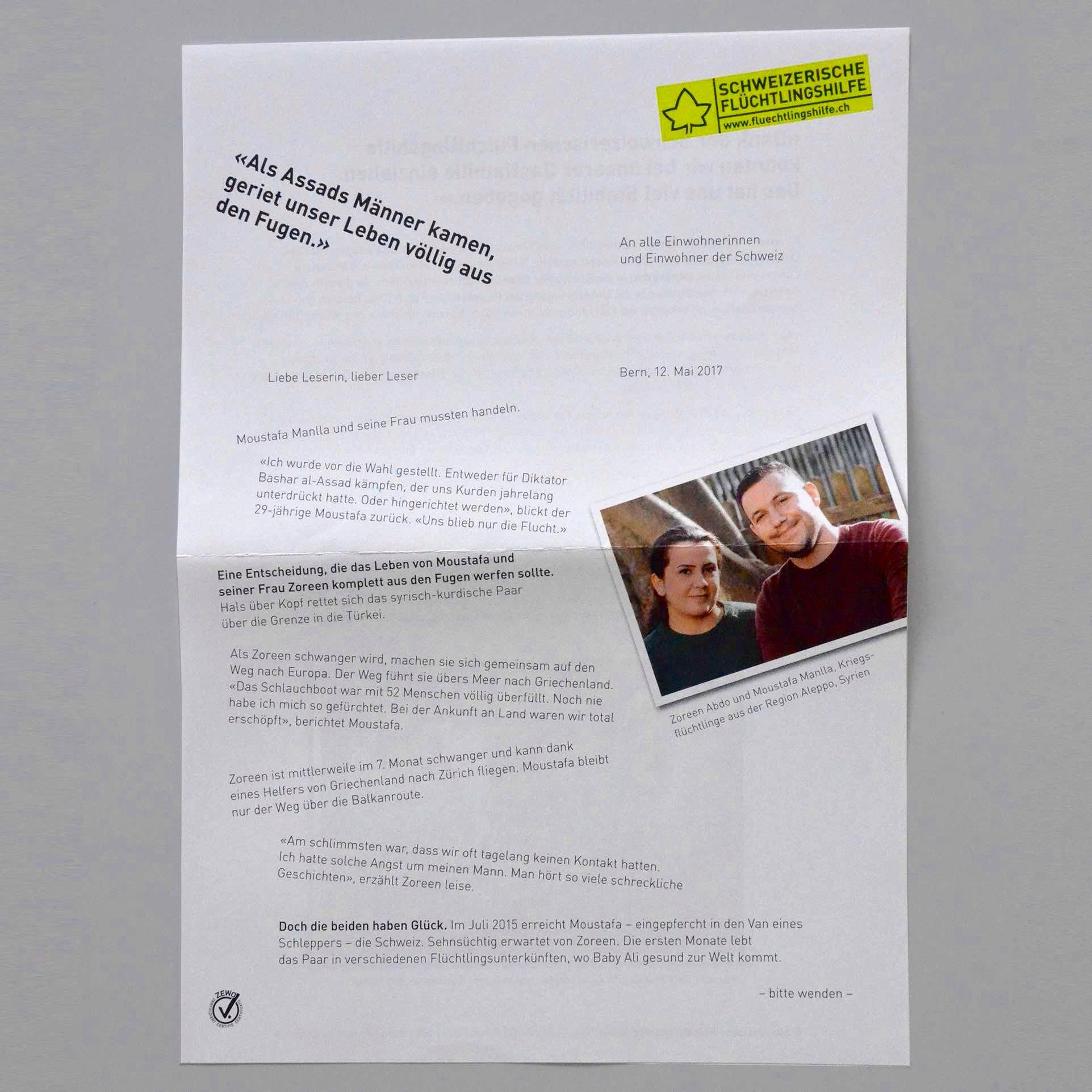 Schweizerische Flüchtlingshilfe SFH: Brief Vorderseite Streuwurf