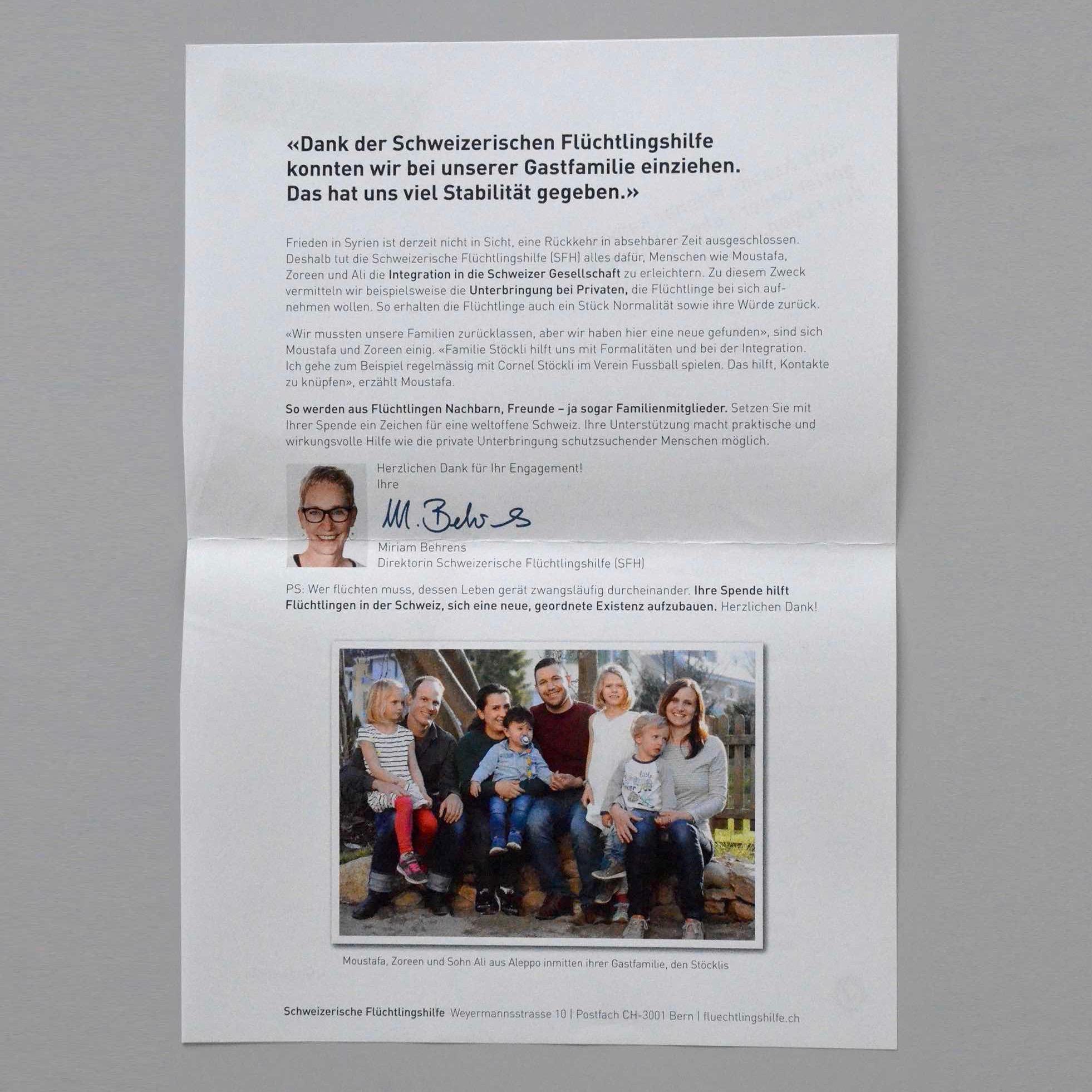 Schweizerische Flüchtlingshilfe SFH: Brief Rückseite Streuwurf
