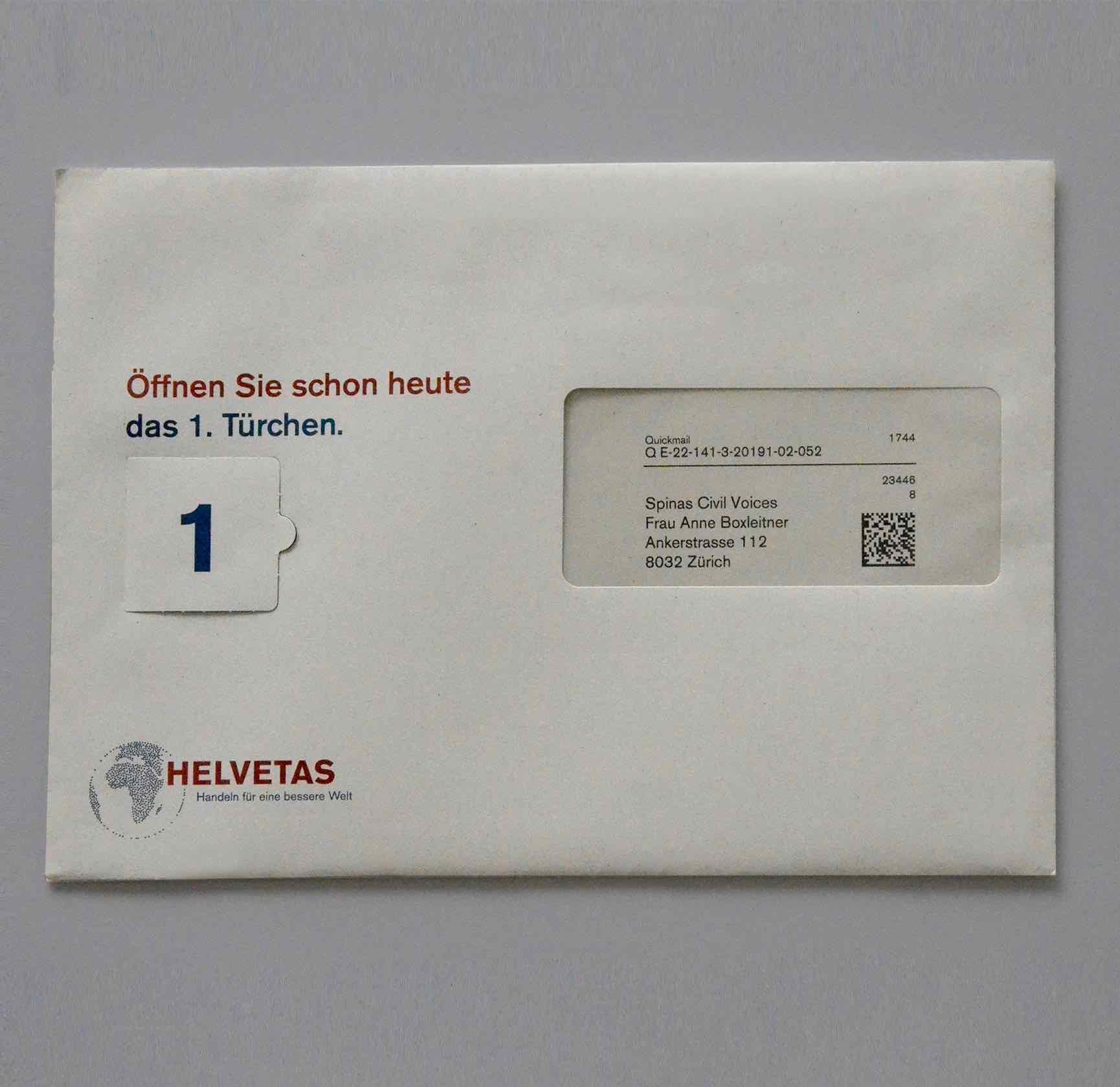 Helvetas Spendermailing November 2016: Couvert